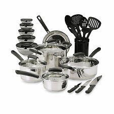 Essential Home 25-Piece Stainless Steel Mega Cookware Set  Pots And Pans Kitchen