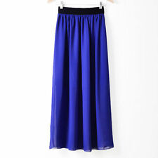Women lady Girl Chiffon Pleated Retro Long Maxi Skirt  Vintage dress 117a