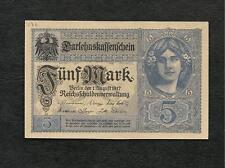 Germania Impero Tedesco Banconota UNC 5 Marchi Donna - 1 agosto 1917 WW1