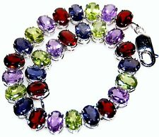 "Multi Color Gemstone Bracelet 925 Sterling Silver Tennis Bracelets 7½"" Jewellery"