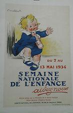 AFFICHE ANCIENNE SEMAINE NATIONALE DE L'ENFANCE 1934 POULBOT