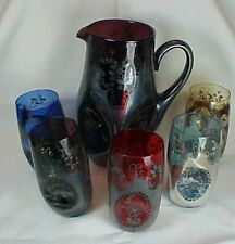6 Piece Silver Overlay Glass Water Set Pitcher Glasses Red Blue Purple Italy