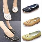 Women Genuine Leather Slip On Casual Ballet  Flat Shoes Hollow Lady Loafers New