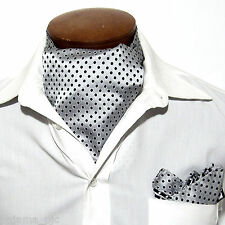 MEN'S POLKA DOTS Free Style Ascot Cravat And Pocket Square Wedding Silver Black