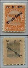 FIUME - 1921 - 20 cent Costituente Fiumana DECALCO (167o) - MH