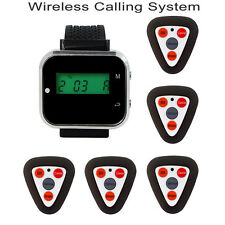 5 Call Pager Wireless Restaurant Calling System+Rechargeable Watch Receiver New