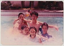 Vintage 80s PHOTO Group Young Guys Girls In Swimming Pool