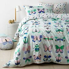 BUTTERFLY BUGS BEETLES GREEN DOUBLE bed QUILT DOONA COVER SET NEW