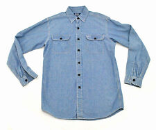 POLO Ralph Lauren Chambray Work Shirt Small Navy Anchor Buttons Workwear vtg