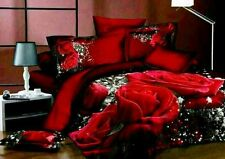 Double Size Red Roses Print 3D Duvet Cover Bedding Set 6pcs quality 100% Cotton