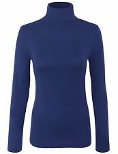 Women's Turtleneck Long Sleeve Basic Solid Fitted Shirt with Stretch S,M,L