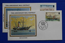 "Isle of Man (219-220) 1982 Steam Packet Co. Mail Contract Colorano ""Silk"" FDCs"