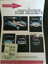 DECALS 1/43 SKODA FELICIA KIT CAR SIBERA RALLYE ESPAGNE CATALUNYA 1996 RALLY WRC