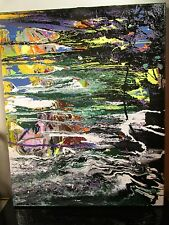 MUSK YAI ABSTRACT SIGNED ORIGINAL 16x20 2015 CANVAS PAINTING READY TO HANG ~1OAK
