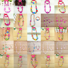 Wholesale 100x Cute Children Kid Fun Wood Bead Necklace Bracelet Jewelry 50 Sets