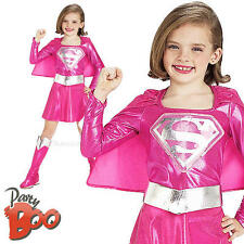 Pink Supergirl Ages 3-4 Fancy Dress Girls Superhero Superman Child Kids Costume