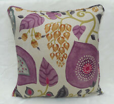 Sanderson Fabric Cushion Cover  'Peas and Pods' Berry/Linen - Linen Blend