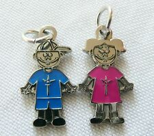 BOY AND GIRL CHILDREN CHARMS/PENDANTS (Set of 2) Pink and Blue  NEW