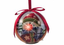 Twinkling Treasures Country SNOWMAN in UGLY Sweater Blinking Nose Ornament