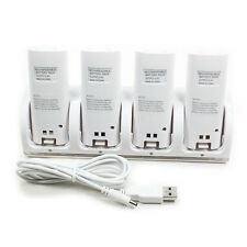 4 Charger Dock Stand Station + 4x Rechargeable Battery for WII Remote White
