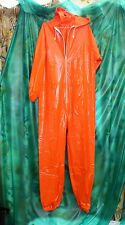 1 pce male female overalls playsuit size XL solid Orange full length pvc vinyl