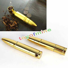 80mm Aluminum Bullet Golden Tobacco Pipe Smoking Cigarette Pipes Holder