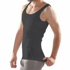 A2 NEW Beautyko USA MUSCLE ACCENTUATING TIGHT FORM FIT Undershirt, BLACK, LARGE