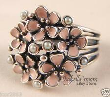 CHERRY BLOSSOM BOUQUET Genuine PANDORA Silver PINK ENAMEL Flower PEARL Ring 7/54