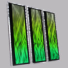 Modern Abstract Metal Wall Sculpture Art Green Painting Home Decor Contemporary