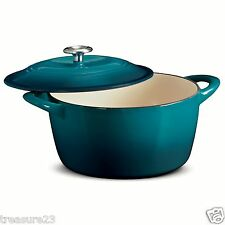 Tramontina Enameled Cast Iron 6.5 Qt Covered Round Dutch Oven TEAL NEW