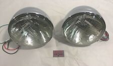 "Pair Dietz 7"" Chrome Street Rod Head Light Sealed Beam Assembly Bullet"