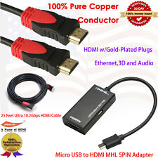 Micro USB to HDMI MHL Video Adapter+Ultra HDMI-25 HDMI Cable 25FT,3D,Audio Video
