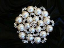 Bulk 50 xPearl Crystal Diamante Brooch Bouquet Pin / Cake Jewellery /Invitation