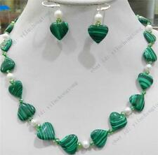HEART GREEN GORGOUESE MALACHITE & TRUE WHITE CULTURED PEARL NECKLACE EARRING SET