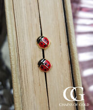 Fine 9ct Yellow Gold & Enamel Ladybird Children's Babies Stud Earrings