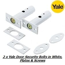 2 x YALE DOOR SECURITY BOLTS, RACK BOLTS WHITE FINISH - NEW