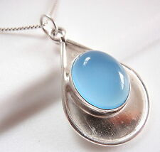 Chalcedony Oval 925 Sterling Silver on Silver Teardrop Necklace New