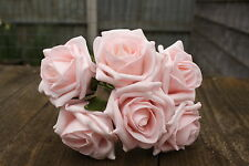 6 x LIGHT BABY PINK LUXURY COLOURFAST FOAM ROSES 6cm WEDDING FLOWERS