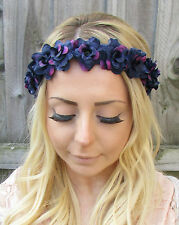 Dark Purple Rose Flower Garland Headband Hair Crown Festival Pastel Goth 1866