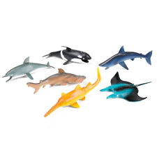NEW 6PC OCEAN ANIMALS FIGURES WHITE WHALE SHARK SCHOOL SEA TOY MODEL ANIMAL KIDS