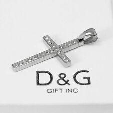 DG Men's Stainless Steel,Silver,48-22mm CROSS CZ Charm Pendant*Unisex New + Box