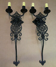 PAIR HUGE IRISH CELTIC 1920S STYLE WROUGHT IRON WALL SCONCE LAMP LANTERN LIGHT