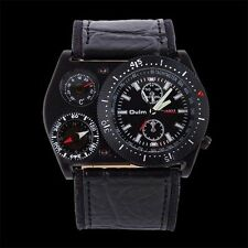OULM Luxury Mens Time Zone Military Army Movements Sport Leather Wrist Watch