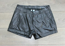 "Black Leather EPISODE MADDOX High Waist Front Pleats Hot Pants Shorts Sz W33"" L2"