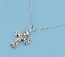Cross Chain Necklace Sterling Silver 925 Christian Symbols Jewelry Gift