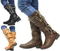 Ladies Mid Calf Knee High Zip Grip Sole Buckle Warm Fur Lined Winter Boots Size