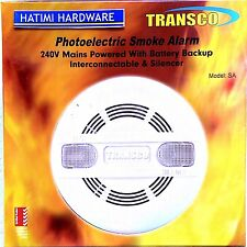 MAINS POWERED 240V AC  PHOTOELECTRIC SMOKE ALARM WITH 9V DC BACKUP BATTERY TRANS