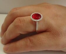 925 STERLING SILVER RING W/ 4 CT RUBY & ACCENTS /SIZE 5 TO 9 AVAILABLE/STUNNING!