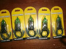 """LOT OF 5 BOOYAH BYPC2903 1/4 PAD CRASHER JR  TOPWATER BAIT 2""""  COLOR BULL FROG"""