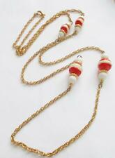 VINTAGE 1960'S RED & WHITE LUCITE BEADS GOLD TONE CHAIN LONG NECKLACE